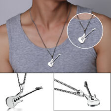 53mm Stainless Steel Guitar Pendant Necklace Man/Woman Jewelry Chain Accessory