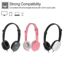 3.5mm CLAMSHINE Wired Headphone Headset Over-Ear Earphone w/ Mic for Cell Phones