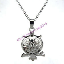 HY-K129 Silver Branch Round Owl Magnetic Pearl Beads Cage Locket Fit 5mm - 10mm