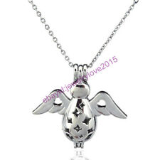 HY-K92 Silver 33mm Fly Angel Oyster Pearl Bead Cage Open Locket Fit under 10mm