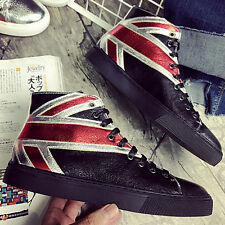 Mens British lace up Skateboarding shoes High top Rock punk Fashion Ankle boots