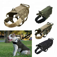 Tactical K9 Dog Military Police Molle Vest Nylon Service Canine Harness S M L XL