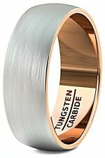 Mens Wedding Band 8mm Brushed Tungsten Ring Rose Gold Inside Dome Comfort Fit