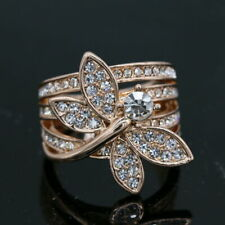 Dragonfly CZ Rose Gold Plated Women Fashion Jewelry Ring J006