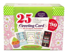 Greeting Card Assortment in Keepsake Organizer Box All Occasion Handmade 25 Pcs