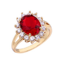 Wedding Oval Cut Ruby Spinel & Sapphire Quartz 18K Yellow/White Gold Filled Ring