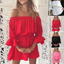 Summer Womens Casual Half Puff Sleeve Stretchy Off shoulder Party Beach Dresses