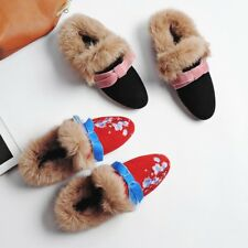 New Sexy Womens Fur Bowknot Mules Slip On Embroider Shoes Sandals Summer Sweet