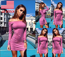 Womens Off Shoulder Long Sleeve Slim Fit Mini Bodycon Club Party Cocktail Dress