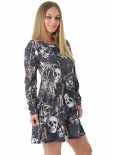 NEW WOMENS LADIES HALLOWEEN ELLIE SKULL PRINT DRESS HAREM COSTUME SIZES 8 - 22