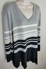 Maternity Oh Baby by Motherhood Striped V Neck Sweater Black Gray Sz M or L NWT