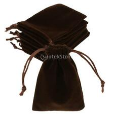 10 x Velvet Gift Pouches Wedding Bags Jewellery Pouches in Brown Colours 5 Sizes