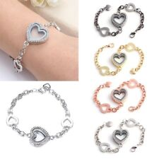 Women Living Memory Floating Charm Crystal Heart Locket Bracelet Fashion Jewelry