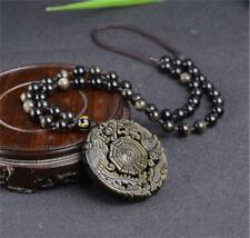 Natural Gold Obsidian Jade Pendant Hand-carved Tai-chi Dragon Phoenix Necklace