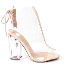 New Qupid Womens shoes! NUDE clear heels Kloude-20 peep toe