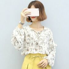 Lady Girl Chiffon Shirt Flouncing Lace Women Blouse Bowknot Front Strap BK