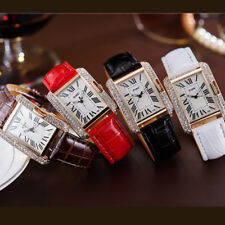 Women's Faux Leather Band Square Rhinestone Dial Quartz Analog Wrist Watch Gift