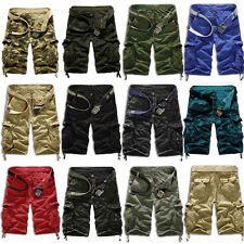 Mens Army Combat Camo Short Pants Work Hiking Cargo 3/4 Cotton Trousers Shorts