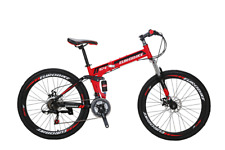 "26"" Folding Mountain Bike MTB Suspension 21 Speed Foldable Bicycle Disc brakes"