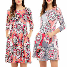 Fashion Gorgeous Mini Dress Print Round Neck 3/4 Sleeve Women Dress Tops Blouse