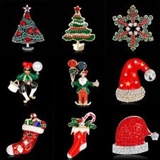 New Xmas Crystal Brooch Pin Christmas Tree Red Hat Clown Fashion Jewelry Gift