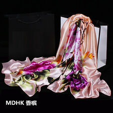 Hot Women's Fashion Silk Satin Floral Long Scarf Wrap Shawl Beach Silk Scarves