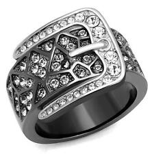 Belt Buckle Ring with Crystals Two Tone Black and Silver Stainless Steel