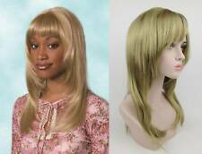 WOMENS LADY LONG STRAIGHT HAIR LAYERED SIDE W/ BANGS WIG SKIN TOP SHARON 25""