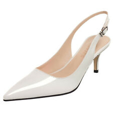 4-15 Womens Pointed Toe Slingback Patent Kitten Heels Party Stiletto Pumps Shoes