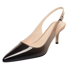 Womens Pointed Toe Patent Leather Kitten Heel Party Weeding Stiletto Pumps Shoes