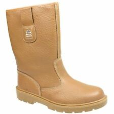 Groundwork Womens Mid Calf Snugg Steel Toe Winter Yard Stable Leather Look Boots