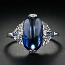Women Men 925 Silver Jewelry Blue Sapphire Engagement Wedding Gift Ring Size6-10