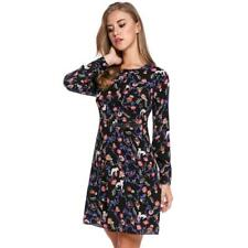 Women Casual Long Sleeve Print O Neck Pullover Tunic Dress FPAW