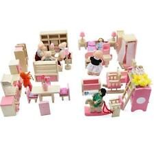 Dolls House Furniture Wooden Set People Dolls Toys For Kids Children Gift New O、