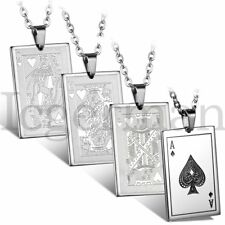 "Men's Silver Stainless Steel Poker Playing Card Pendant Necklace Chain 22"" Gift"