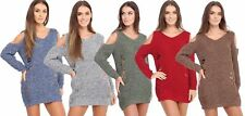 WOMENS LADIES LONG SLEEVE STARCH RIBBED KNITTED CUT OUT COLD SHOULDER JUMPER TOP