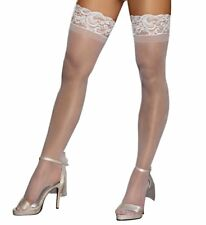 Dreamgirl 0005 Sheer Thigh High With Stay Up Silicone Lace Top