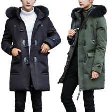 Fashion Slim Fit Cotton Padded Quilted Coats Mens Winter Long Hooded Jackets New
