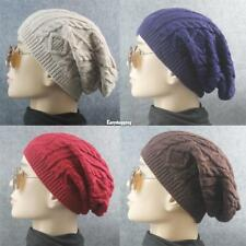 New Men Ladies Knitted Woolly Winter Oversized Slouch Beanie Hat Cap ES9P 01