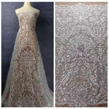 Very beautiful clear shinly sequins lace fabric wedding dress clear sequins lace