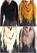 Cute Fringe Square Bulky Scarf Wool Blend Fall Scarves Mustard Black Ivory Taupe