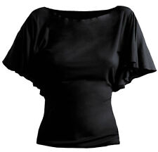 Spiral Gothic Elegance, Boat Neck Bat Sleeve Top Black Plus Size|Gothic