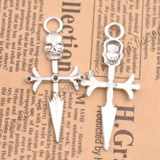 Wholesale 5Pcs Tibetan Silver Cross Charms Pendants Jewelry 63X28MM Z351