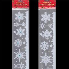 Flocked Snowflake Window Frieze / Stickers with Crystals - Cling Xmas Decoration