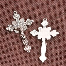 Wholesale 10Pcs Tibetan Silver Cross Charms Pendants Jewelry 48X37MM Z353