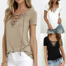 Summer European Fashion Lace Up T Shirt Women Sexy V Neck Hollow Out Top Casual