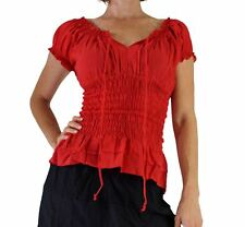 'SHORT SLEEVE PEASANT BLOUSE' Gypsy - Red