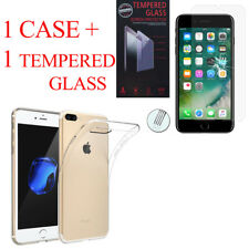 """For Apple iPhone 7 Plus 5.5"""" : Silicon Case + Tempered Glass Screen Protector"""