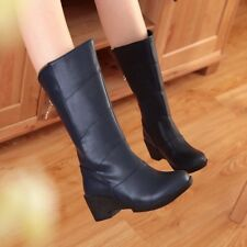 Womens Synthetic Leather Zip Platform Med Wedge Heels Solid Boots Shoes Nice!!