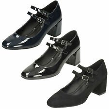 LADIES SPOT ON BLOCK HEEL BUCKLE STRAP FORMAL MARY JANE COURT SHOES F9922